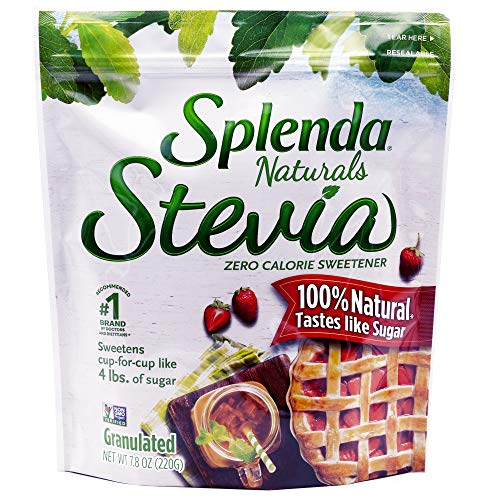SPLENDA Naturals Stevia Sweetener for Baking: No Calorie, All Natural Sugar Substitute w/ No Bitter Aftertaste. 7.8 oz. Granulated Resealable Bag