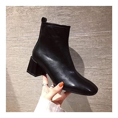 Comfortabel en veelzijdig temperament Classic Enkel laarzen for vrouwen naaldhak rits aan de zijkant Faux Leather Soft Rubber Kleur Plein Sole Pure gesloten teen gestikte hjm nvxie jfidmra