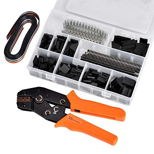 Crimpzange Set, Queta 1550PCS Stecker/Buchse Stecker/Pin mit 1 IDC-Kabel, Dupont-Crimpzange geeignet für 2.54mm, 2.8mm, 3.96mm Kapazität 0,1-1,0 mm2 28-18AWG