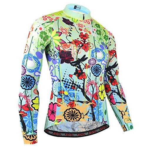 BXIO Mujer Ciclismo Manga Larga, Camisa Larga para la Primavera y el otoño, Ciclismo Ropa Deportes al Aire Libre Camisetas largas