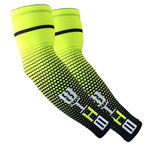 Nortongrace Glamouröse Summer Cycling Cuffs Männer und Frauen Sunscreen Ice Silk Arm Outdoor Basketball Running Sports Protective Gear(None L Fluorescence Green-L)