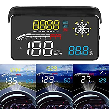 ACECAR Upgrade Car Universal Navigation Version Head Up Display OBD II/GPS Dual System HUD Support Google Map,Direction,Speed,Overspeed Warning,Mileage Measurement,Water Temperature,for All Vehicles