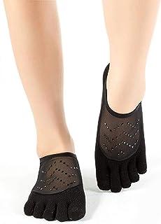 convokeri スターグリッターメッシュ滑り止めソックス、グリップ付き女性用ヨガソックス人間工学に基づいたクールコンフォートソックス滑り止めピラティス用5本指ソックス、バレ