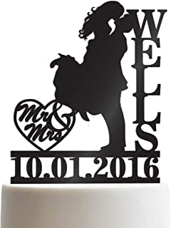 Bride & Groom Kissing Personalized Wedding Cake Topper Mr Mrs Heart Customized Wedding Date & Last Name To Be | Solid Color Cake Toppers