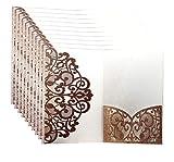 ZIRAN Qiuxiaoaa 10Stücke / Packung Lasergeschnittene Hochzeitsgruß-Einladungskartenabdeckung Personalisierte Hohle Geschäfts-Verlobungsfeier liefert Durchbrochene Einladung Gold
