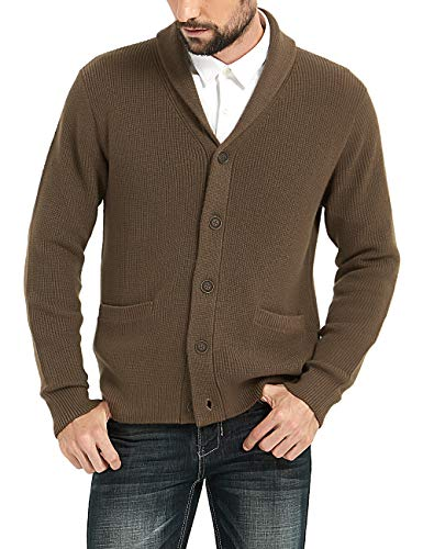 Kallspin Men's Merino Wool Blended Shawl Collar Cardigan Sweater Button Down Knitwear with Pockets (Dark Brown, XX-Large)