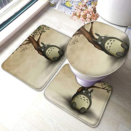 HAOHAODE Anime Tonari no Totoro - Juego de 3 alfombrillas de baño antideslizantes suaves + almohadillas de contorno + cubierta de tapa de inodoro, alfombra absorbente de baño y alfombrilla antideslizante