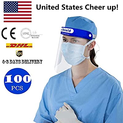 100 pcs/Pack Face Shields Medical - Reusable Anti-Pollution Clear shield FDA Approved Face Shield, Disposable Safety Face Shield Full Face Isolation Shield Anti-Saliva Protective Hat.