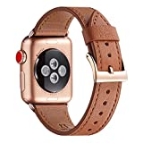 WFEAGL Compatible iWatch Band 42mm 44mm, Top Grain Leather Band with Gold Connector (The Same as Series 5/4/3 with Gold Aluminum Case in Color) for iWatch Series 5/4/3/2/1 (Brown Band+Rosegold Connector)