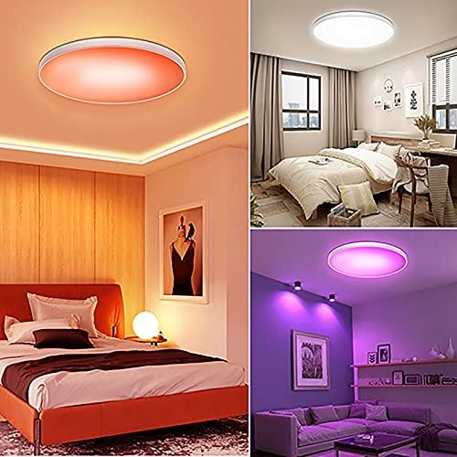 30W RGB Luz de Dormitorio con Altavoz Bluetooth y Mando a Distanci Temporización Inteligente WIFI Lámpara de Techo Music con Control App Luz de Techo Compatible con Alexa, Google Home, 2700-6500K