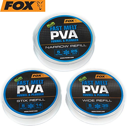 FOX Edges PVA Mesh Refill Fast Melt 5m - PVA-Schlauch Mesh System, wasserlösliches Netz zum Karpfenangeln, Futternetz, Größe:35mm Wide