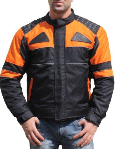 German Wear Textilien Jacke Motorradjacke Kombigeeignet Schwarz/Orange, Größe:M