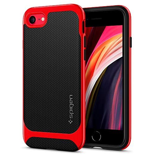 Spigen Funda Neo Hybrid Herringbone Compatible con iPhone SE 2020, Compatible con iPhone 8 y Compatible con iPhone 7 - Rojo Dante