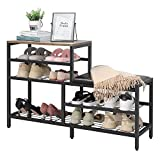 Shoe Rack Bench 5-Tier Shoe Storage with Seat Industrial Entryway Bench Metal Storage Shelves Organizer Entry Bench Shoe Stand for Entryway Hall Brown Black