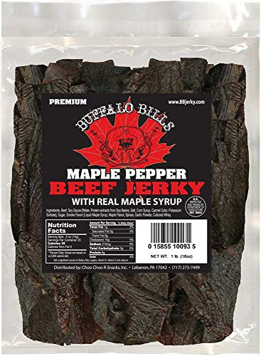 Buffalo Bills 16oz Premium Maple Pepper Beef Jerky Pieces (one pound bag in random size pieces)