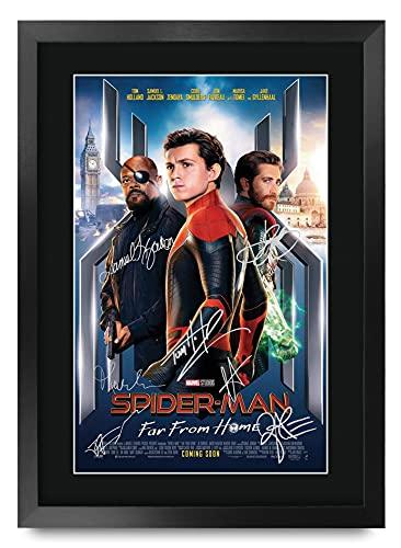 HWC Trading A3 FR Spider-Man: Far From Home Movie Poster firmato Tom Holland, incorniciato, formato A3, motivo: Spiderman Spider Man