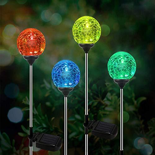 Solar Gartenleuchte LED 4er Glaskugel Set,OxyLED Solar Globe Licht Stakes, farbveränderliche LED-Gartenbeleuchtung für Außen, Garten, Balkon, Terrasse, Rasen, Wege