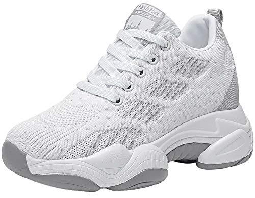 GILKUO Zapatillas Cuña Mujer Wedge Sneakers Plataforma Talón 10 CM Blanco 37
