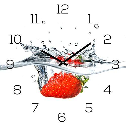 levandeo Wanduhr Glas 30x30cm Uhr Glasbild Erdbeere Rot Wasser Frucht Fruit Küchenuhr Wanddeko
