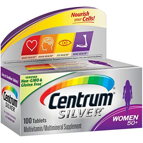 Centrum Silver Multivitamin for Women 50 Plus, Multivitamin/Multimineral Supplement with Vitamin D3, B Vitamins, Calcium and Antioxidants - 100 Count