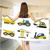 Gene Washington Boys Room Microfiber Bath Towels Cartoon Style Heavy Machinery Truck Crane Digger Mixer Tractor Construction Gym Travel Towels Fast Drying Lightweight W19 x L39 Inch Yellow Grey