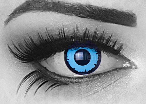 Sky Demon Farbige Funnylens Crazy Fun Hellblau Blau Schwarz Kontaktlinsen perfekt zu Fasching, Karneval Halloween Anime Manga oder zum Alltag mit gratis Behälter und 60ml Pflegemittel Topqualität zu jedem Event geeignet.