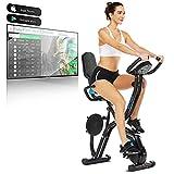 ANCHEER Heimtrainer Fahrrad mit APP-Steuerung, Fahrrad Klappbar X-Bike, Fitness-Bike, mit 10-stufigem einstellbarem Magnetwiderstand und bequemem Sitz