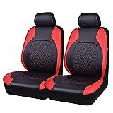 CAR PASS Juego de fundas para asientos delanteros de coche, Cubiertas de Asiento de Auto de Cuero Artificial, 2 Piezas