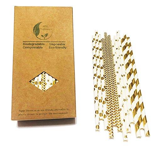 100 piezas Pajitas de Papel oro para fiesta con Dulce Diseño, Oro Raya, Billante doradas, onads estrellas, lunares pajitas