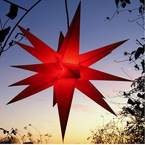 Außenstern, Faltstern mit LED (auswechselbar!) rot wetterfest 55 cm, (DUH-E14-3,5W), kein störanfälliger Trafo nötig