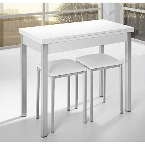 SHIITO Mesa de Cocina de 90x40 cm con Apertura Libro y Tapa de Madera laminada en Color Blanco