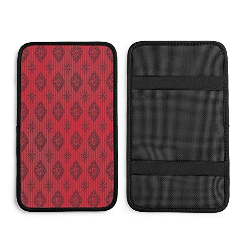 N\ A Damask Stripe Red Pretty Car Center Console Armrest Cover Cushion Pad for Women Universal Auto Middle Console Covers Protector Mat Car Decor Accessorie for Sedan Van SUV Truck