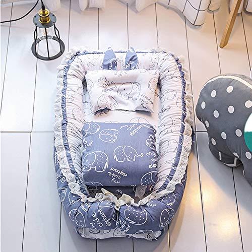 PULUSI Lit de voyage pliable pour nouveau-né avec oreiller et couettes pour enfants de 0 à 1 an, 100% coton pour berceau, meilleur cadeau de bébé pour une nouvelle maman