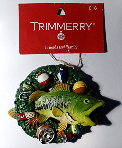 Bass Christmas Ornament, Trimmerry, Fish, Christmas Wreath Gift Tree Ornament