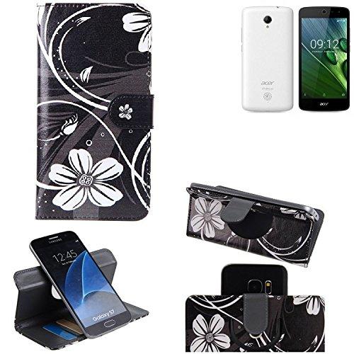 K-S-Trade® Schutzhülle Für ACER Liquid Zest 4G Hülle 360° Wallet Case Schutz Hülle ''Flowers'' Smartphone Flip Cover Flipstyle Tasche Handyhülle Schwarz-weiß 1x
