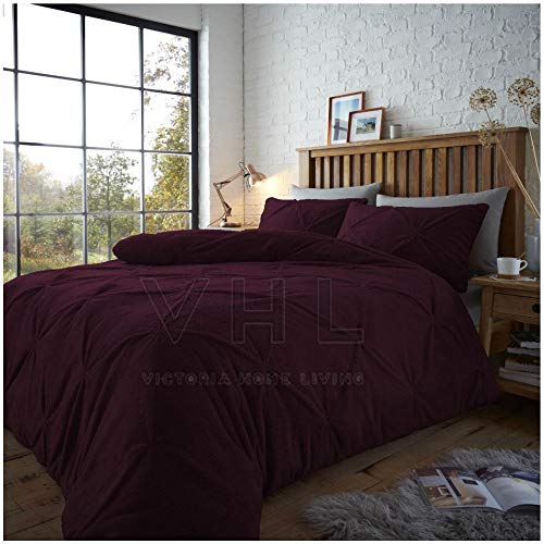Gaveno Cavailia Easy Care Teddy Chiswick Duvet Cover With Matching Pillow Cases, Soft & Cosy Quilt Bedding, Purple, Double Size Bed Linen