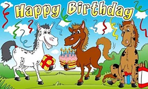 U24 vlag Happy Birthday paarden 90 x 150 cm
