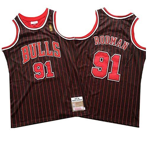 CHSC Bulls # 91 Dennis Rodman Fan Trikot, Retro-Version BasketballJersey Weste Ärmelloses Unterhemd Hemd Präzise Stickerei Tops Herrenjunge rot schwarz gestreift-A_M—Sportgeschenk