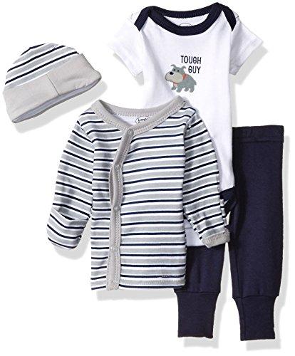 Luvable Friends Unisex Baby Cotton Preemie Layette Set, Tough Guy, Preemie