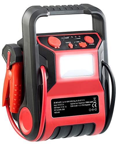 REVOLT Akku Kompressor: 5in1-Starthilfe-Powerbank & Kompressor, USB, 12V 9.000mAh, 600A 250PSI (Kfz Starthilfe)