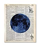 Lunar Moon Upcycled Vintage Dictionary Art Print 8x10 UNFRAMED from our Galaxy Collection
