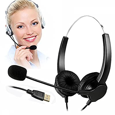 TelPal Corded Hands-free Call Center Noise Cancelling Corded Binaural Headset Headphone with Mic Mircrophone - Cord with USB Plug, Volume Control by