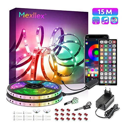 LED Strip 15M, RGB LED Streifen Musiksynchronisation Farbwechsel 44 Tasten Fernbedienung, empfindliches eingebautes Mikrofon, von der Anwendung gesteuerte LED lichtband, 5050 RGB LED Leuchtstreifen