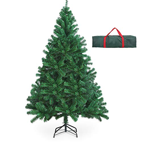 OUSFOT Weihnachtsbaum Künstlich 182cm (Ø ca. 110 cm) 800 Äste schwer entflammbarer Tannenbaum mit Schnellaufbau Klappsysem Material PVC inkl. Metallständer