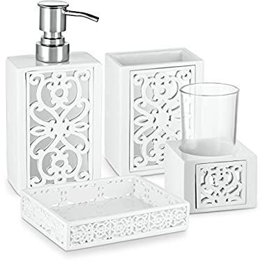 Dwellza Mirror Janette Bathroom Accessories Set, 4 Piece Bath Ensemble, Bath Set Collection Features Soap Dispenser Pump, Toothbrush Holder, Tumbler, Soap Dish- White