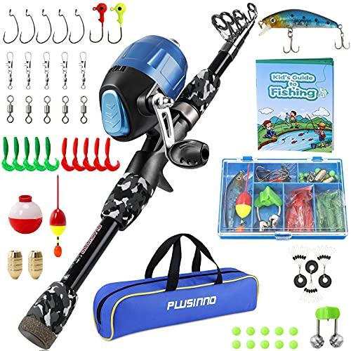 PLUSINNO Kids Fishing Pole with Spincast Reel Telescopic Fishing Rod...
