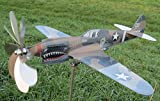P-40 Kittyhawk Flugzeug als Windrad aus Edelstahl/ Metall Propeller dreht - Gartendeko