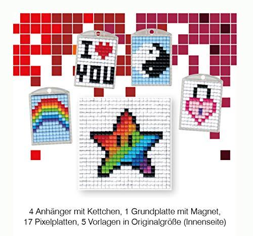 Pracht Creatives Hobby P90033-63501 - Pixel Spaß Bastelset 16, für 4 Medaillons, Schlüsselanhänger, für Kinder, Jungen und Mädchen, ideal als kleines Geschenk, Mitgebsel, für den Kindergeburtstag