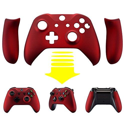 eXtremeRate Hülle Case Cover Matt Gehäuse Schutzhülle Schale Faceplates mit 2 Griff Seitenteilen für Xbox One S/Xbox One X Controller(Rot)