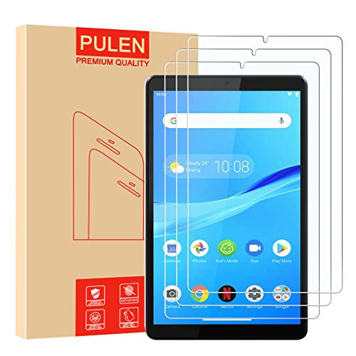[3-Pack] PULEN for Lenovo Tab M8 Screen Protector,HD Clear Anti-Scratch No Bubble 9H Hardness Tempered Glass (8.0 inch)